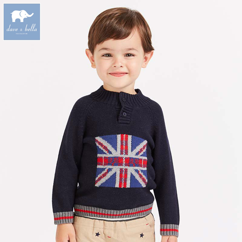 DB8501 dave bella baby boys sweater children print knitted sweater kids autumn pullover toddler boutique tops rabbit print pullover