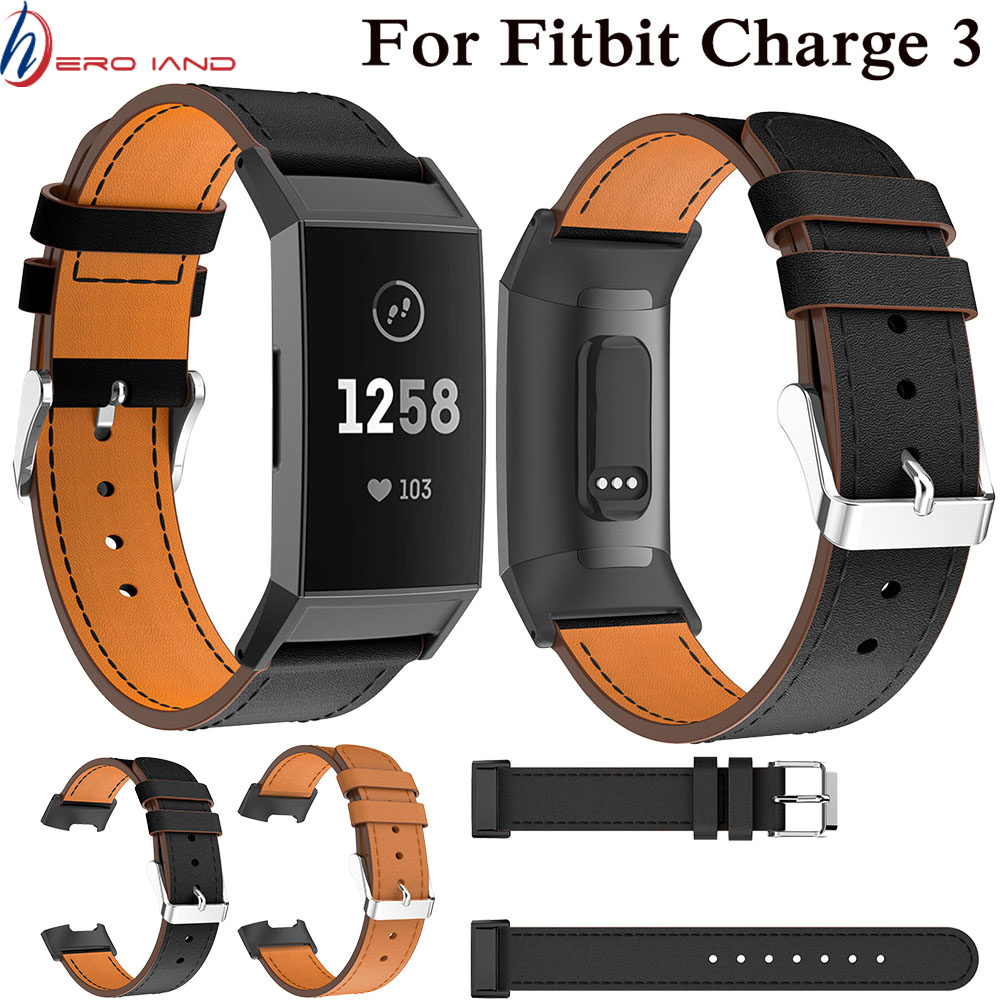 Brown Black Leather Smart Watch Band For Fitbit Charge 3 Replacement Wristband Strap For Fitbit Charge 3 Band Smart Accessories