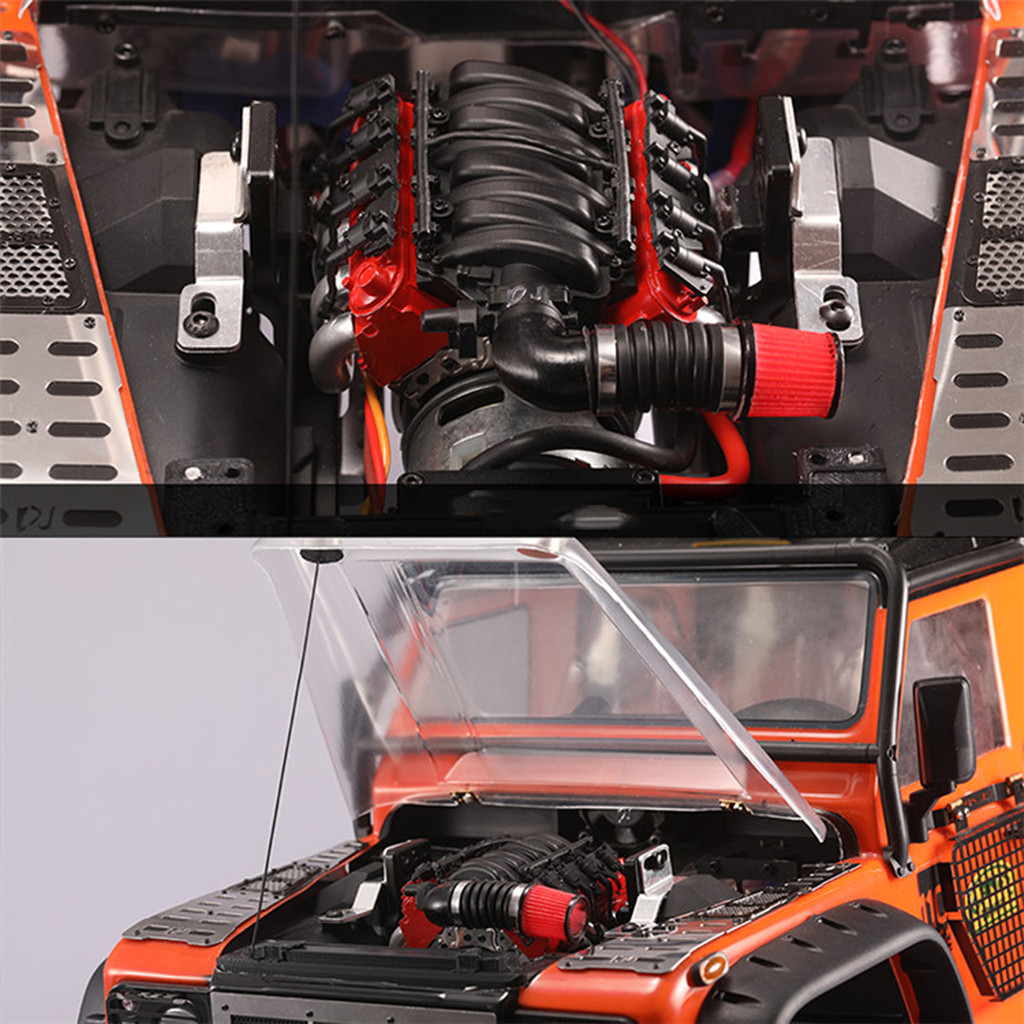 Image 4 - 2019 Portable Suitable Charging Simulation V8 Engine Cover + Fan Radiator For Traxxas TRX4 D90 D110 D130 SCX10 convenient-in Parts & Accessories from Toys & Hobbies