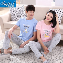 New summer women pajama sets sleep & lounge home clothing couple pajama sets couples pajamas women homewear sleepwear(China)