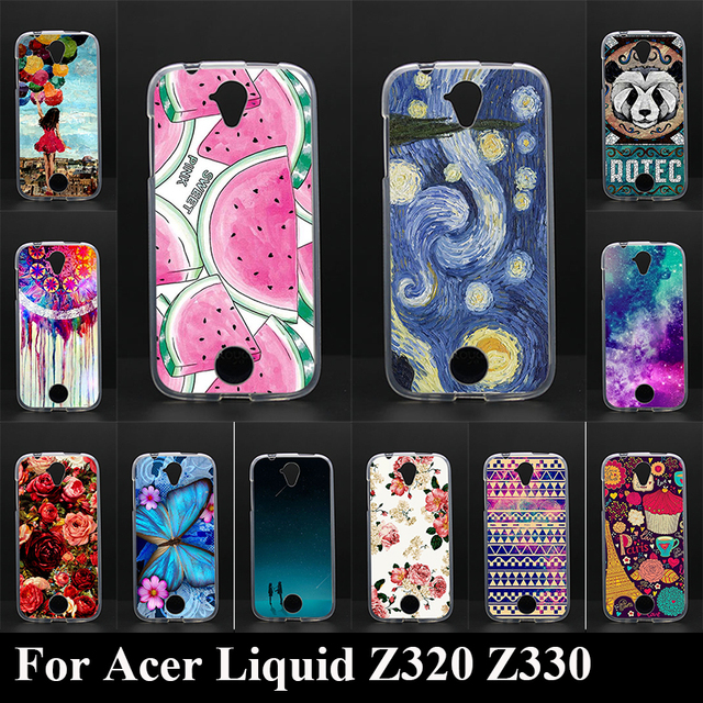 Case For Acer Liquid Z320 Z330 Colorful Printing Drawing Transparent Plastic Phone Cover Soft Silicone Tpu