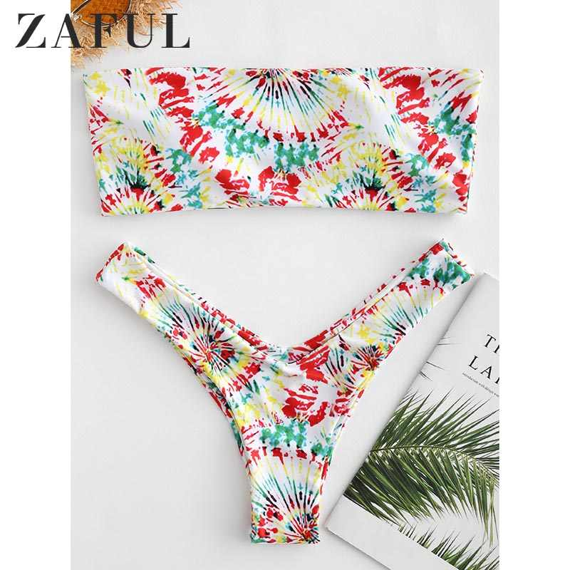 ZAFUL wyściełane Tie Dye kobiety Bikini zestaw bez ramiączek zakrętka tubki niskiej talii krótkie strój kąpielowy kobiet plaży latem zestaw strój kąpielowy