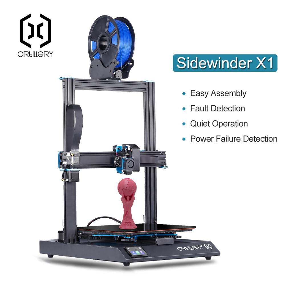 2019 Mais Novo de Artilharia Sidewinder X1 3D Impressora Ultra-silencioso Motorista TFT Touch Screen Dual eixo Z Currículo 3d impressão impressora withUsb