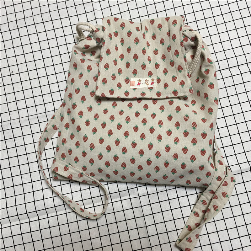 YILE Handmade Cotton Linen Drawstring Travel Backpack Student Book Bag Print Red Strawberry WF07