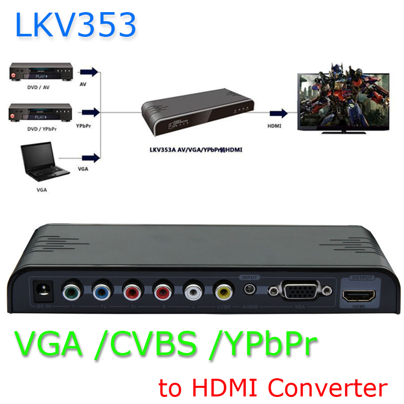 New VGA/ YPbPr Component/Composite RCA CVBS+Audio to 1080P HDMI Converter Scaler LKV353 Kaycube For DVD, VCR, Camera to HDMI