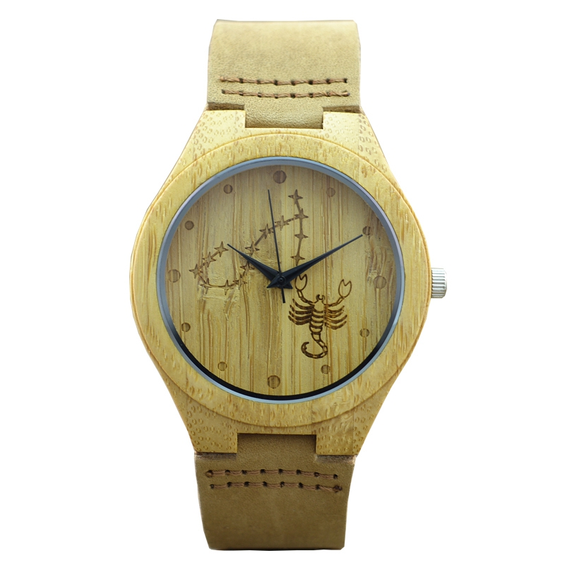 12 Zodiac Stars Signs watch Fashion Genuine Leather Watchband Bamboo Wood Watches for Women Men's  For Birthday Gifts Relogio робот zodiac ov3400