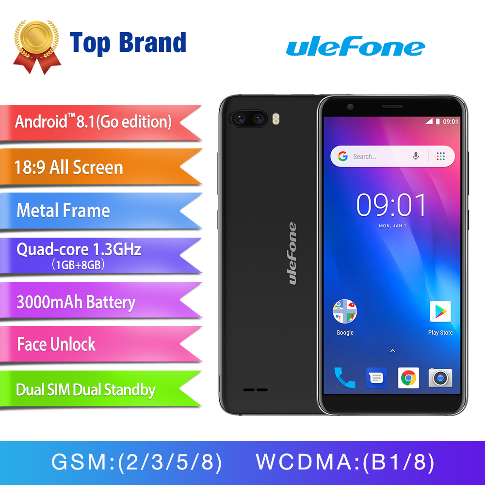 Ulefone S1 Face ID Android 8.1 Smartphone 5.5'' 18:9 Screen Dual Rear Camera Mobile Phone MT6580 Quad Core 3G 3000mAh Cell phone