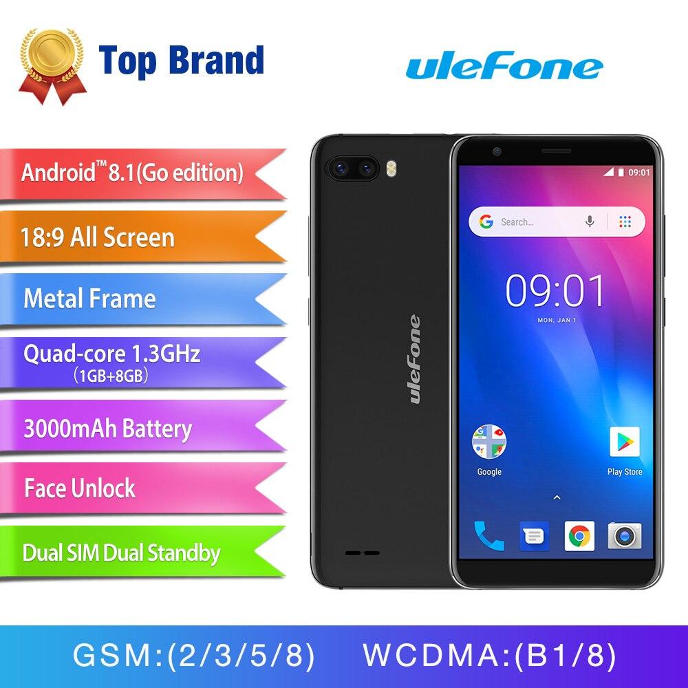 Ulefone S1 Face ID Android 8,1 смартфон 5,5 ''18:9 Экран двойной сзади Камера мобильного телефона mt6580 четыре ядра 3g 3000 мАч сотовый телефон
