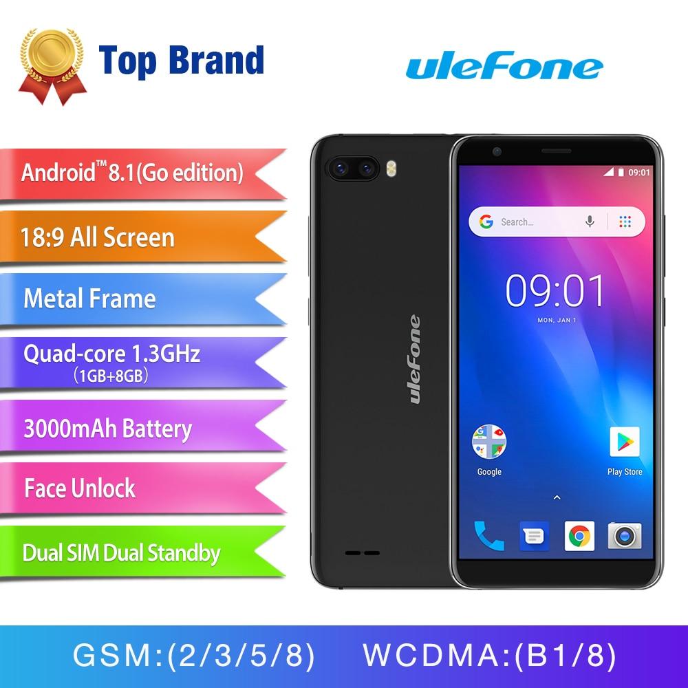 Ulefone S1 Visage ID Android 8.1 Smartphone 5.5 ''18:9 Écran Double Arrière Caméra Mobile Téléphone MT6580 Quad Core 3g 3000 mah Cellulaire téléphone