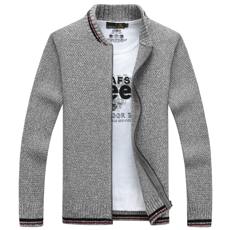 NIANJEEP Cardigan Cotton Men Brand Clothing Zipper Fashion Winter Jacket  Striped Stand Collar Sweater Men A3359