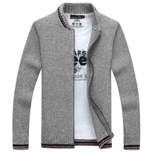 NIANJEEP Cardigan Cotton Men Brand Clothing Zipper Fashion Winter Jacket Striped Stand Collar Sweater Men A3359