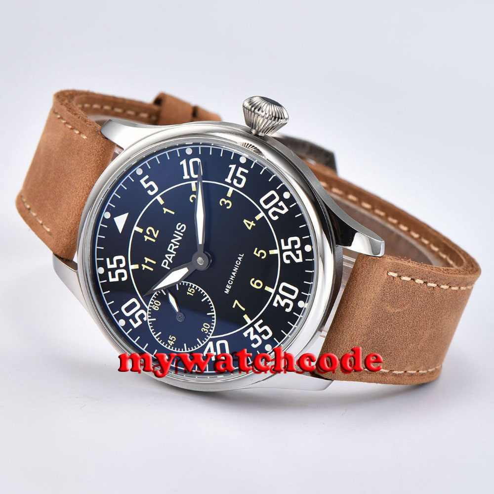 44mm parnis black dial ST hand winding 6497 mechanical mens wristwatch P680 цена и фото