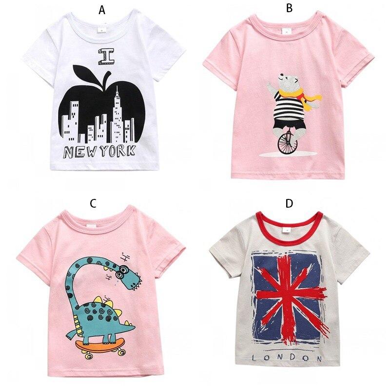 Girl T-Shirt Tops Tees Short-Sleeve Toddler Baby-Boy Kids Cotton Children Summer Cartoon