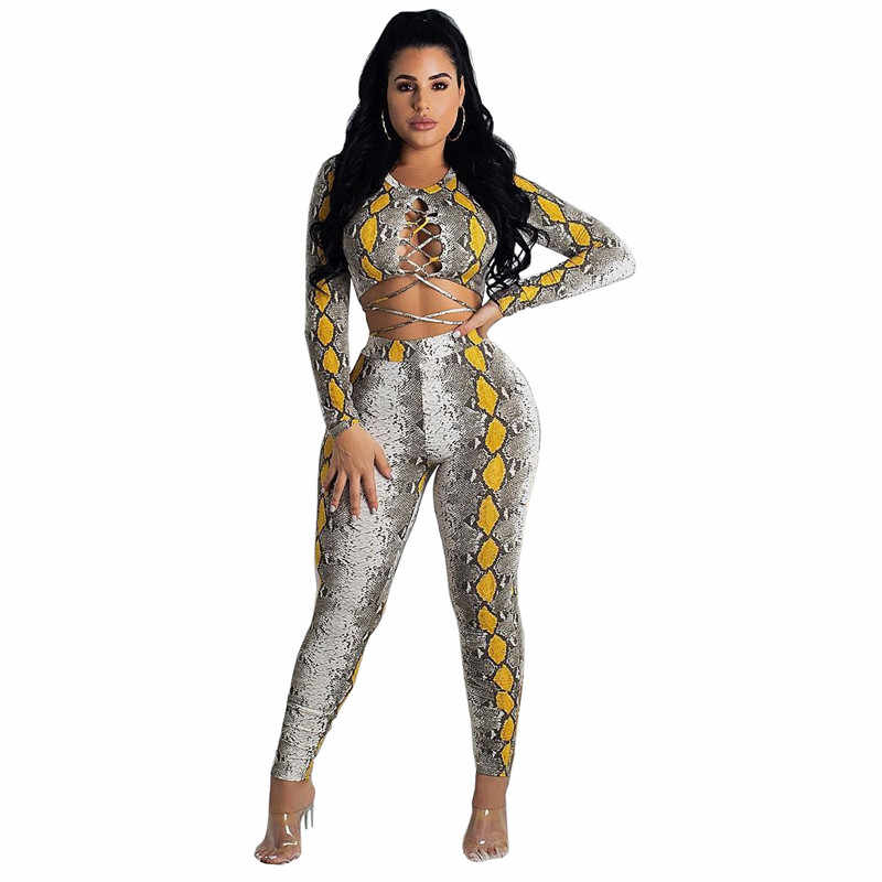 Snake Print Sexy 2 Piece Set Women Long Sleeve Lace Up Crop Top and Pant Suit Club Party Matching Sets 2 Piece Outfits for Women