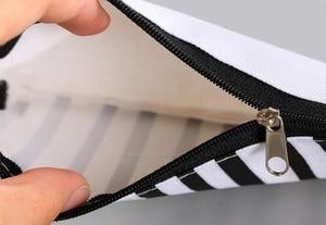 Image 5 - 20pcs/lot Vintage Simple Stripes Canvas Pencil Case Cosmetic Pouch Pen Bag Office School Stationery Supplies Black&White