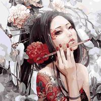 Chinese Historical Figure Painting Red Nail Polish Long Hair For Living Room Oil Painting By Numbers