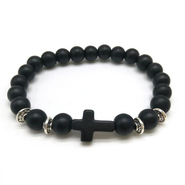 Brand Black Lava New Hot Matte Beaded Cross Bracelets Women Men Jewelry Natural Stone Bangles
