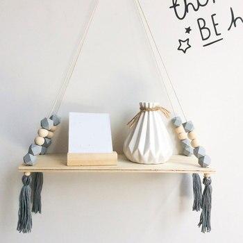 Полка для хранения в скандинавском стиле с деревянными бусинами, кисточками, Деревянной Стеной, Настенное подвесное украшение для детской ...
