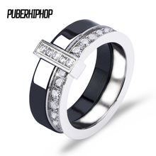 Black White Ceramic Ring With One Row Australia Zircon Two Layers Stainless Steel Silver Thin Engagement Rings For Women Jewelry