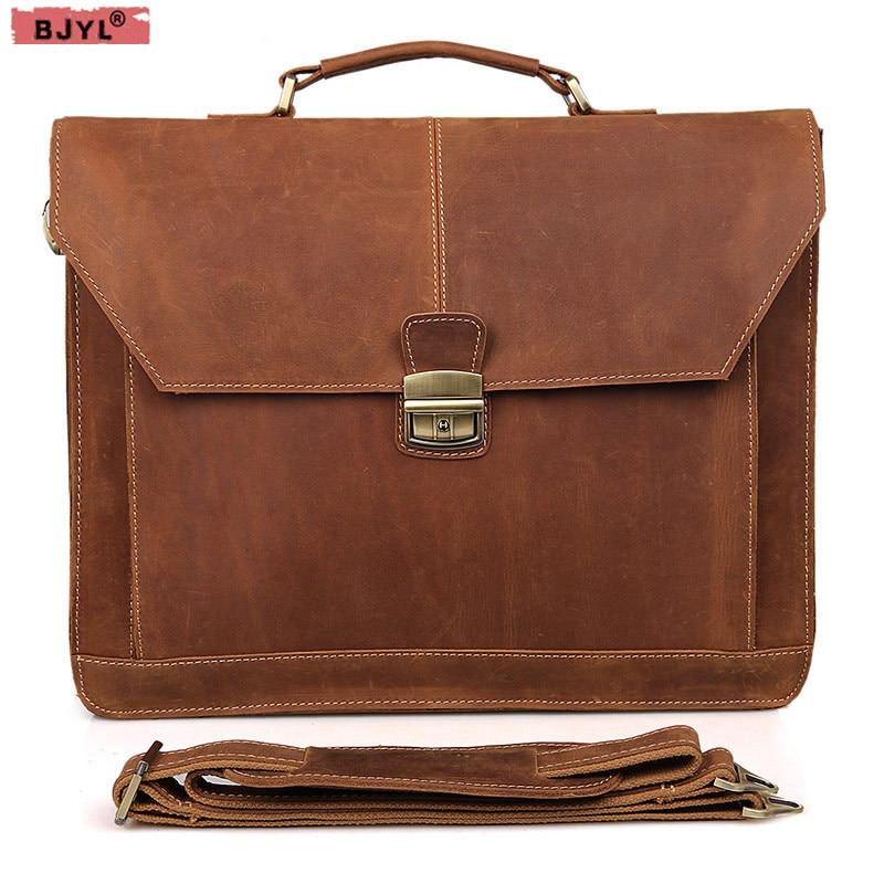 BJYL Для мужчин из натуральной кожи Crazy Horse большой емкости Сумки Сумка Кроссбоди Бизнес старинные портфель сумка