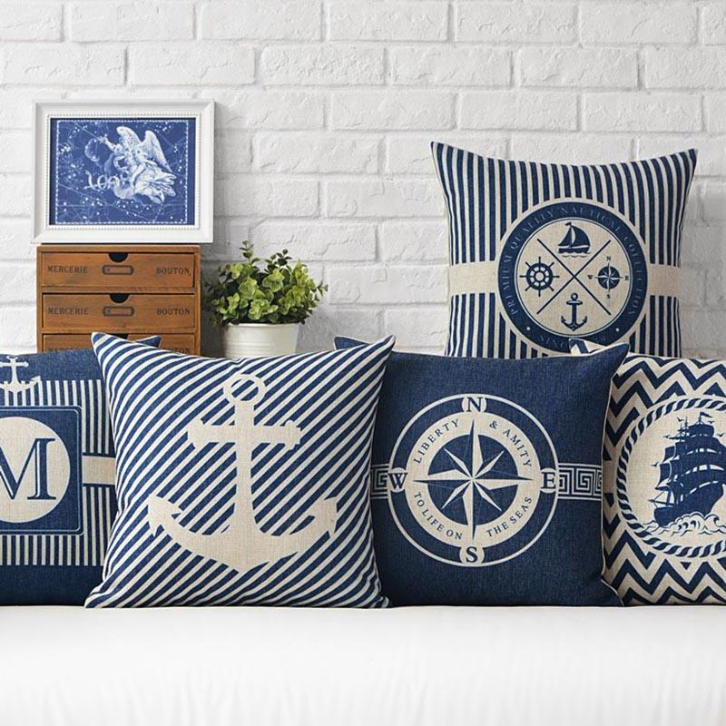 18 Sea Blue компас печатных чехлы якорь узор морской корабль Подушка декоративная наволочка Cojines Almofadas