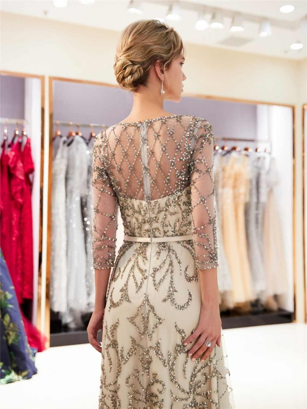 c1d5d01271 ... 2019 Hot Champagne A-line Long Prom Dress With 3 4 Sleeves Lucury  Beading
