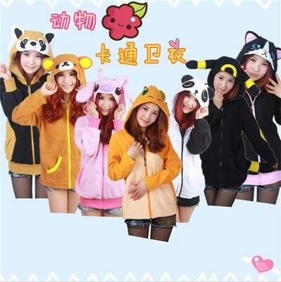 new winter Animal Women Men's Stitch Panda Cat Rilakkuma Wolf Tiger Dinosaur Charmander Hoodies Coat With Ears Plus Size