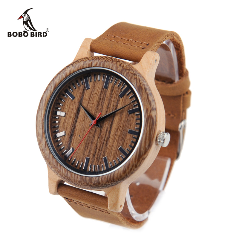 BOBO BIRD V-M13/M14 Mens Watches Fine Wood Bezel Bamboo Watch with Leather Band in Gift Box relojes mujer 2018 bobo bird wh29 mens zebra wood watch real leather band cool visible quartz wooden watches for men with gift box dropshipping