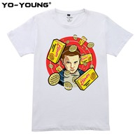 Fashion Stranger Things T Shirts Men Summer Tops Homme Digital Printing 100 180g Combed Cotton Casual