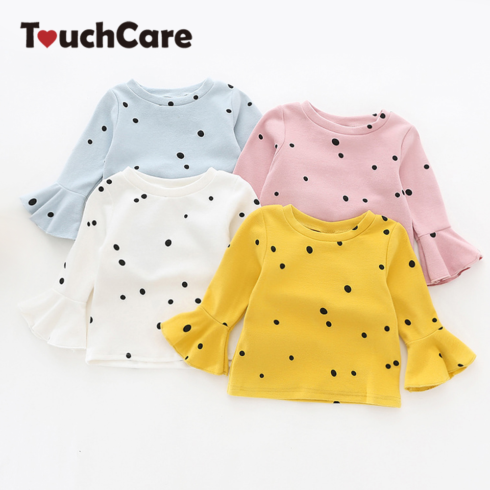 Touchcare Lotus Leaf Sleeve Baby Girl T Shirts Solid White Pink Yellow Colors Dots T-shirt Autumn Cotton Baby Girl Clothes