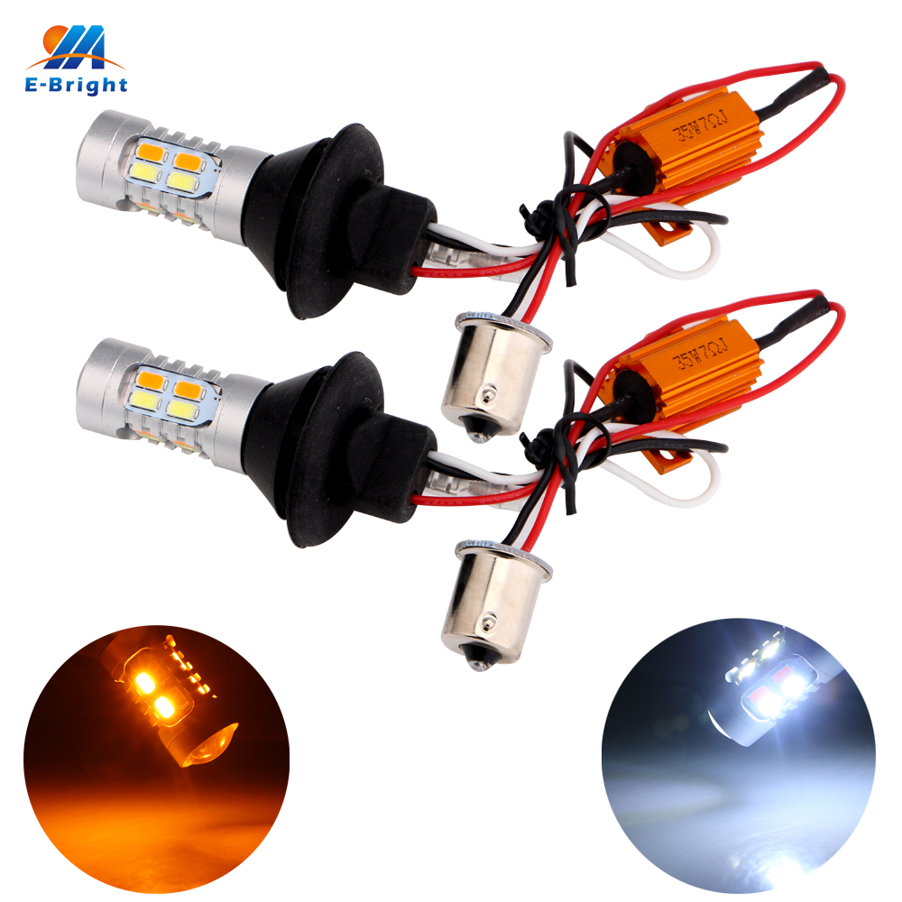 Car Styling! 1Set 1156 P21W BA15S 5730 20SMD Amber/White Switchback LED Bulbs SMD 1073 S25 DRL Turn Signal Light 12V Dual Colors car styling s25 1157 bay15d 20smd car led bulbs tail brake light 12v dual colors high power 5730 led lamp drl pack of 2