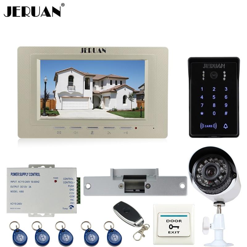 JERUAN 7`` Video DoorPhone intercom System kit waterproof Password keyboard Access IR Night vision Camera + 700TVL Analog Camera