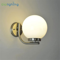 Modern Outdoor D20cm Frosted Acrylic Ball Lampshade Porch Lamp E27 LED Wall Light Stainless Steel Outdoor