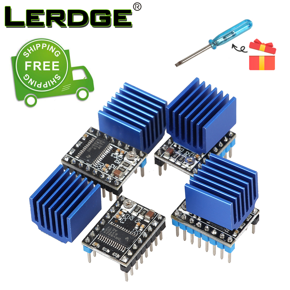 LERDGE 3D printin parts Drv8825 Stepper Motor Driver Module With New Aluminum HeatSink 4PCS or 5PCS Free Shipping free shipping 100% new low freight 5pcs wm8326 wm8326g