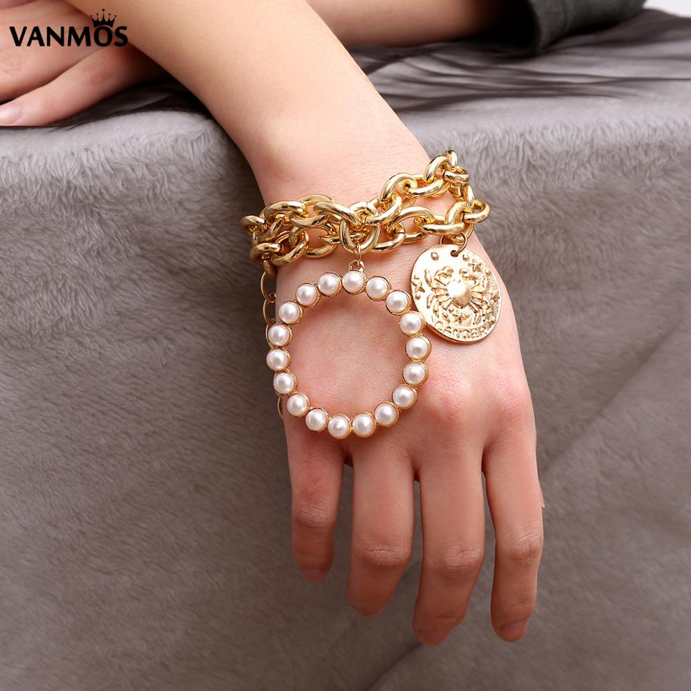 Vanmos Vintage Bohemia Female Bracelet Bangle Carved Crab Imitation Pearls Pendant Wrist Chain Jewelry Ethnic for Women