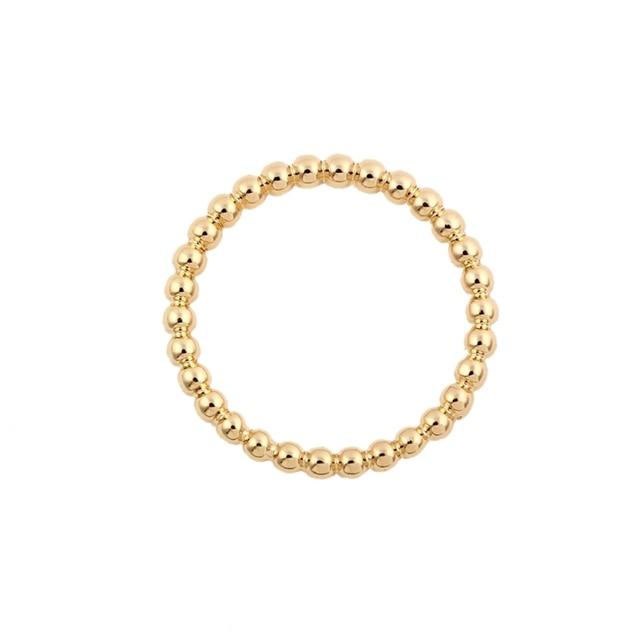 Oly2u Dünne Stapeln Dünne Ring Stapel Band Gold Perlen Ring Voll ...