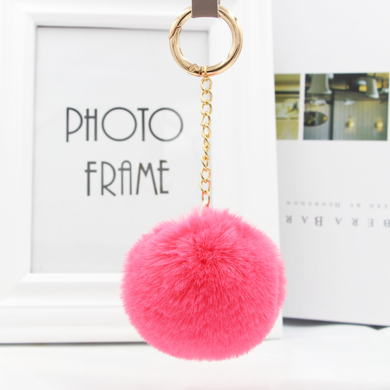 Womens Fur Ball Keychain Pom Pom Keychain Fluffy Rex Rabbit Keyring Holder Women Bag Cha ...