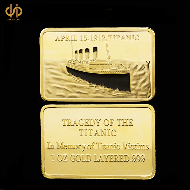 Titanic Ship In Memory Of Rms Victims 1OZ Gold Layered.999 Commemorative Bar/Coin Collection