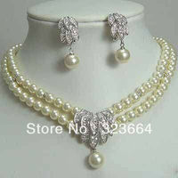 Hot Sell! Fancy Bridal Jewellery 7 8MM white Pearl Necklace Earring