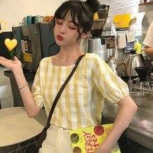 Fashion New Women Blouse Korean squre collar Short Sleeve shirt Femme Casual Plaid wild short Blouses Womens Blusa Shirts