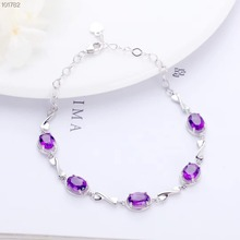 gem jewelry manufacturer trendy 925 sterling silver natural purple crystal amethyst adjustable charm chain bracelet women classic 100%natural amethyst bracelet made by 925 solid sterling silver vintage crystal bracelet for woman evening party jewelry