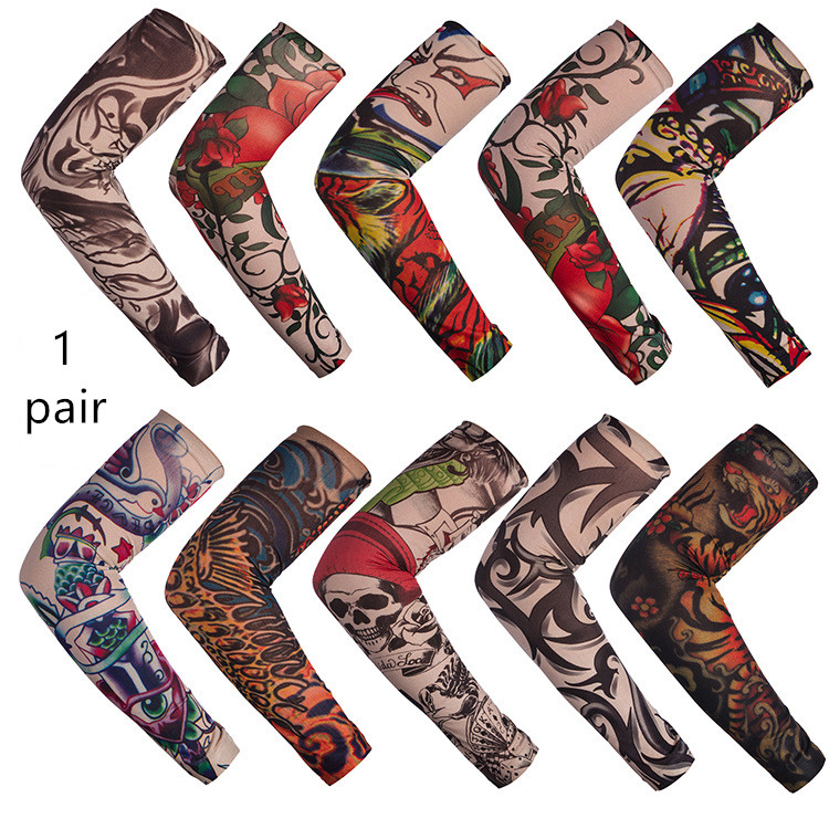 A Pair Anti-Sunshine Fashion Men And Women Tattoo Arm Leg Sleeves High Elastic Nylon Halloween Party Dance Party Tattoo Sleeve
