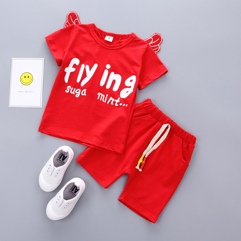 2018 summer baby wear cotton letter short sleeves backside wing design T-shirt elastic s ...