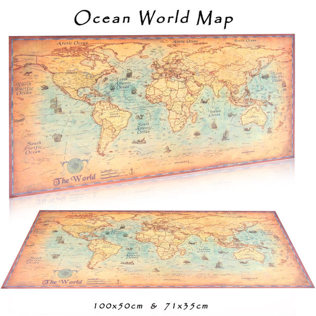 World Map Vintage Poster Ocean Maps Retro Sea Bar Pub Cafe Home ...