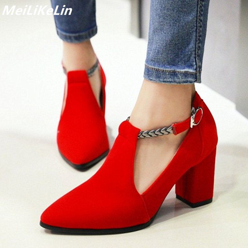 112bf2027f31 MeiLiKeLin Flock Red wedding shoes braid Band T-Strap pumps point toes high  heeled buckle
