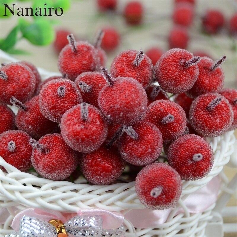 10pcs 2cm Mini Apple Fake Fruit Glass Berries Artificial Pomegranate Red Cherry Bouquet Stamen Christmas Apple Decorative