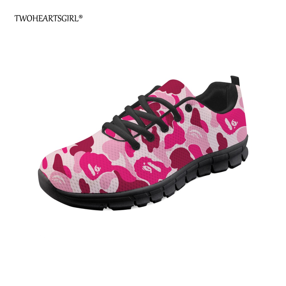 Twoheartsgirl Camouflage Women Fashion Sneakers Breathable Female Mesh Walking Shoes Per ...
