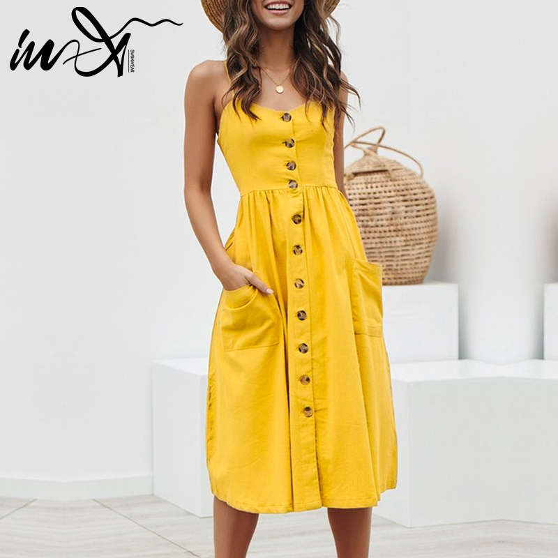 ee6ce176b0a9f In X Yellow sexy beach dress plus size Elegant buttons women Cover ...