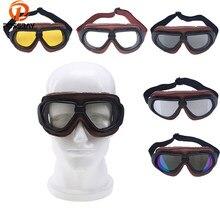 bfa54ff9c5 POSSBAY Gafas de lente Motocross motocicleta Vintage piloto de cuero de la  PU de Moto Gafas para ciclismo Gafas de sol