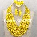 2015 el nuevo sorprender amarillo Coral perlas africanas joyería de perlas boda nigerianos africanos collar de la joyería nupcial fija el envío gratis
